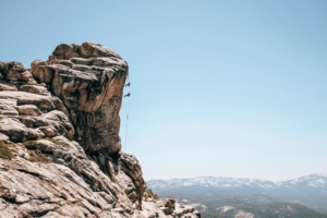 Summit Adventure students rappelling in the Ansel Adams Wilderness